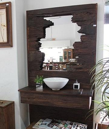 espejos rusticos para baño de madera