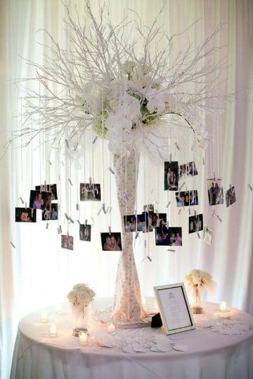 fotos colgadas con pinzas boda