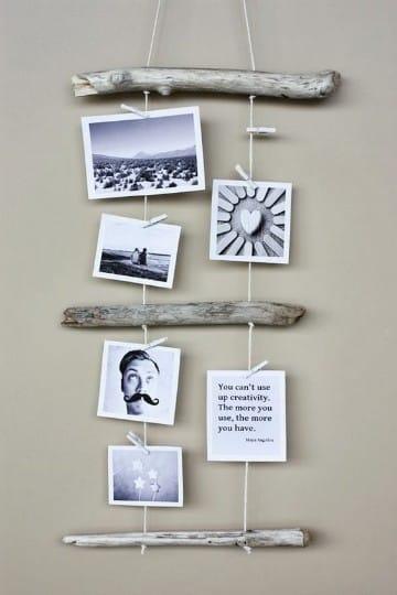 fotos colgadas con pinzas sin marco