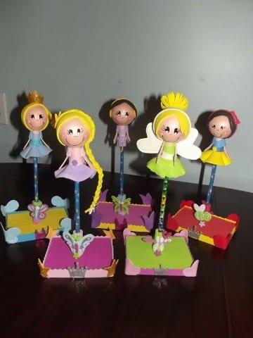 lapices decorados con goma eva para niñas