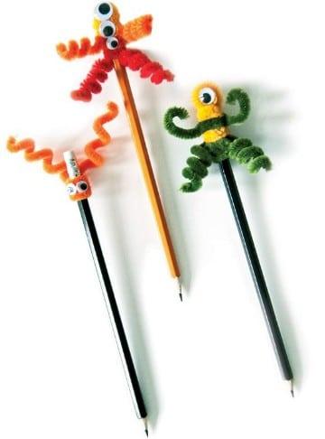 lapices decorados con limpiapipas para niños