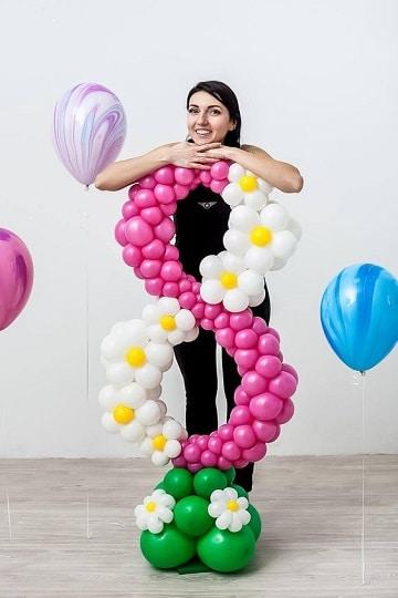 numeros decorados para fiestas con globos