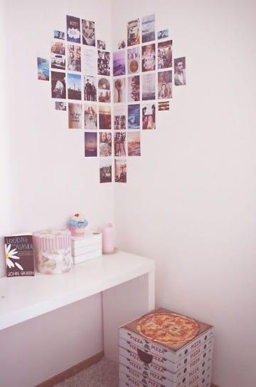 paredes decoradas con fotos en forma de corazon