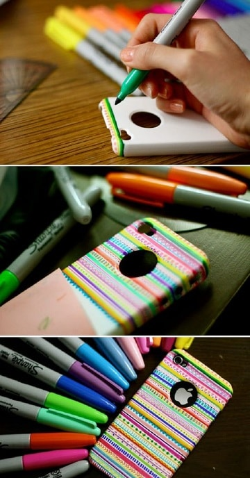 protector para celular casero con marcadores