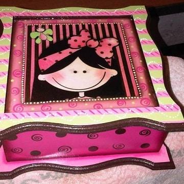 cajas de madera decoradas para bebes de madera
