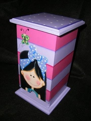 cajas de madera decoradas para bebes ideas