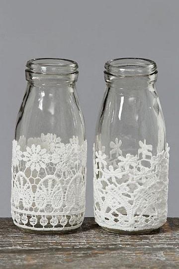 como adornar frascos de vidrio con crochet