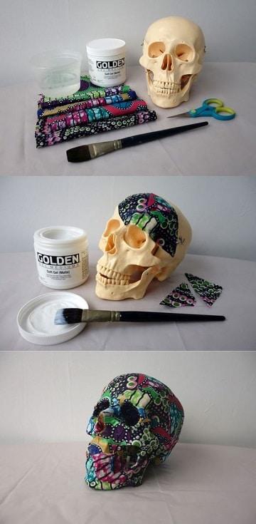 como decorar una calavera de unicel con papel tapiz