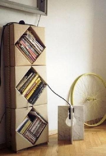 como hacer un librero de carton simple