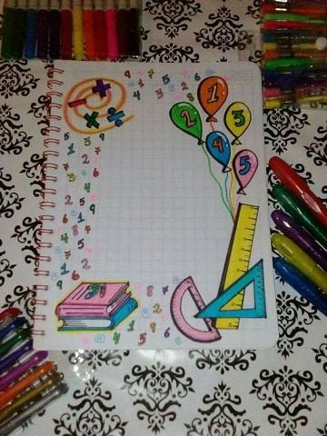 decoraciones para portadas de cuadernos con marcadores