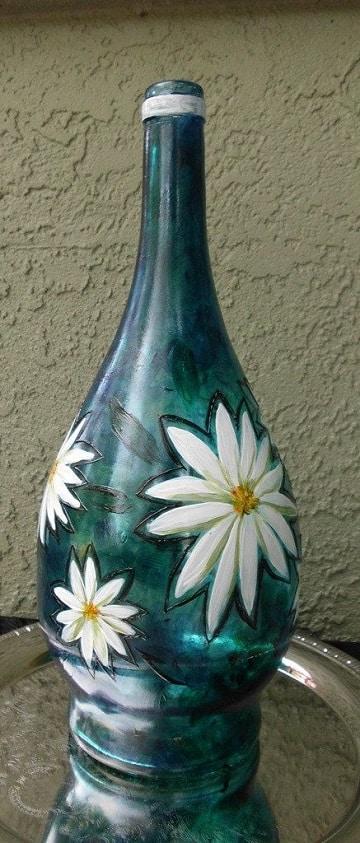 decorar garrafas de cristal flores
