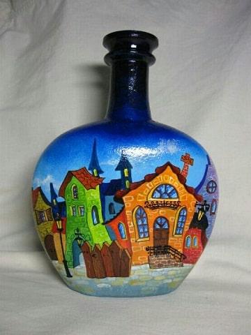 decorar garrafas de cristal paisajes