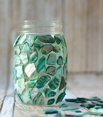 frascos de cristal decorados con piedras