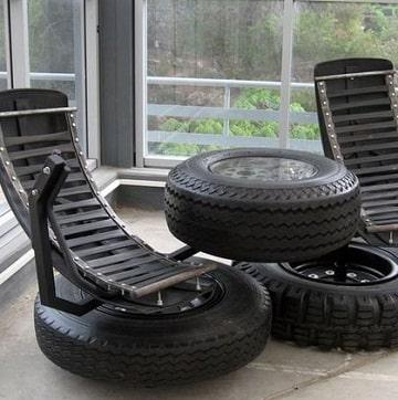 muebles con llantas recicladas modernas