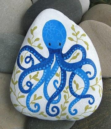 piedras pintadas de animales de mar