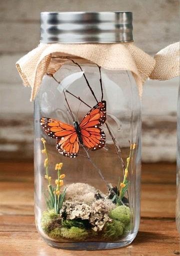 adornos con frascos de vidrio naturaleza