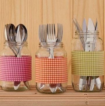 adornos con frascos de vidrio para la cocina