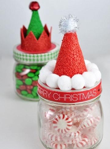 adornos con frascos de vidrio para navidad