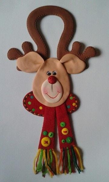 adornos de navidad en foami para puertas reno