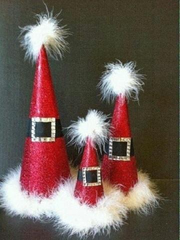 adornos navideños con carton de santa