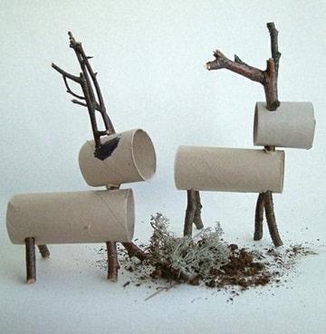 adornos navideños con carton renos