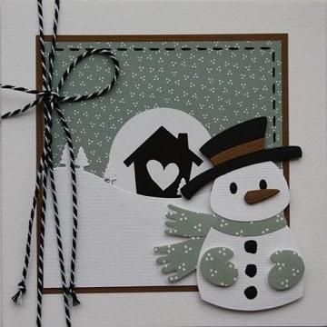 como elaborar una tarjeta navideña hombre de nieve