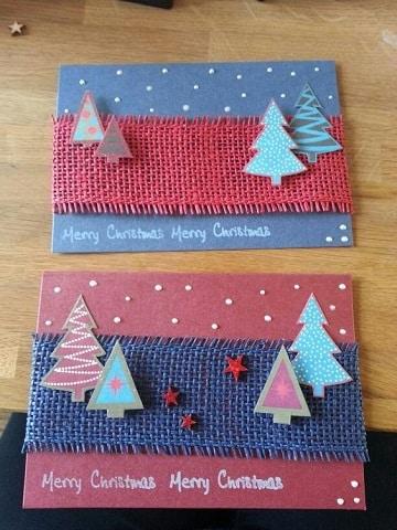 como elaborar una tarjeta navideña tela