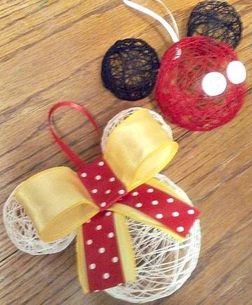 como hacer esferas de mickey mouse con hilo