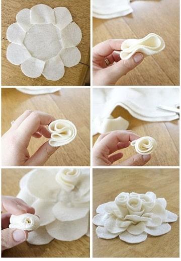 como hacer flores de tela para el cabello paso a paso