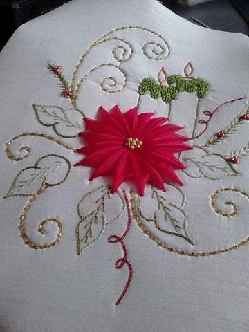 como hacer manteles navideños bordado con cinta