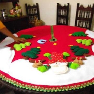 como hacer manteles navideños con fieltro