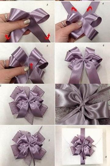 como hacer moños de tela para decorar morado