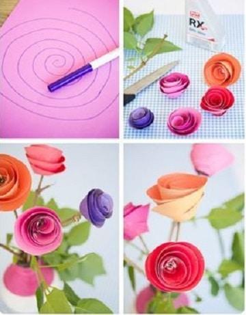 como hacer rosas con cartulina paso a paso