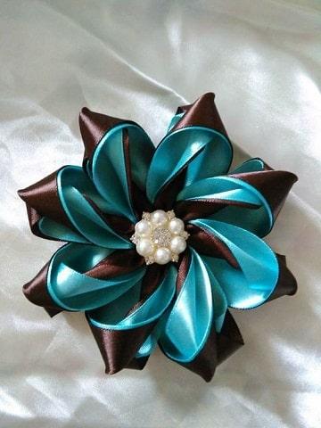 flores de cinta de raso para el pelo dos colores