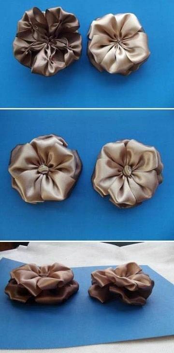 flores de cinta de raso para el pelo paso a paso