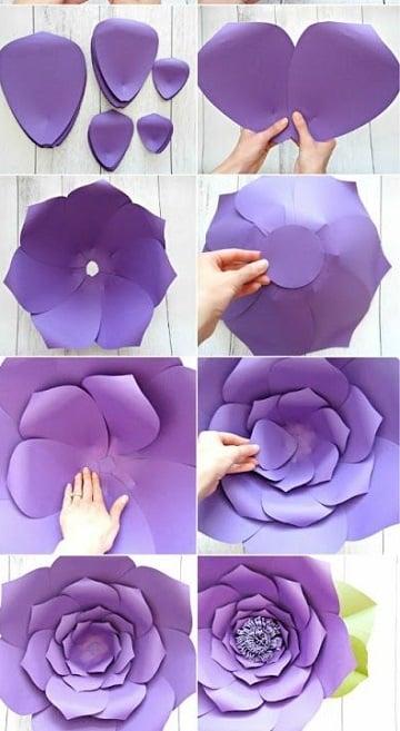flores de papel cartulina paso a paso