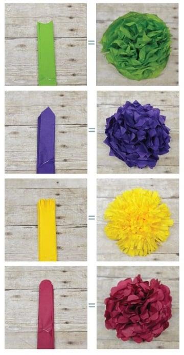 guirnaldas de flores de papel de colores