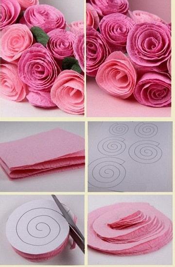 guirnaldas de flores de papel para fiesta