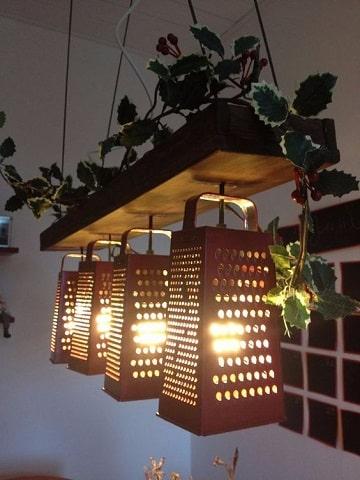 lamparas recicladas faciles de hacer de material de cocina