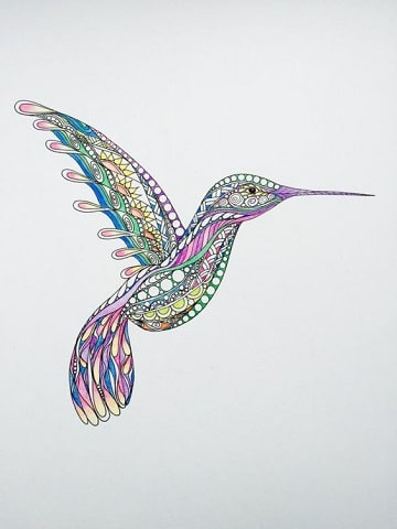 mandalas de animales pintados colibrí