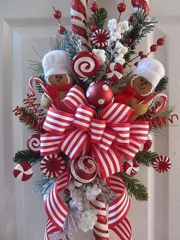 moños de navidad para puertas colores