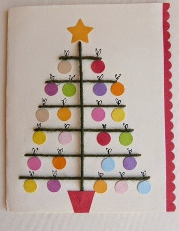 tarjetas de navidad artesanales de pinos