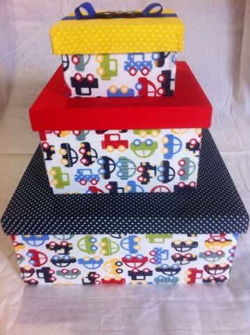 cajas de carton decoradas para bebes con carritos