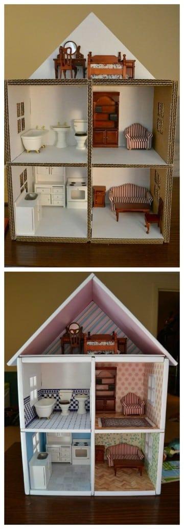 como hacer una casa de carton facil para muñecas