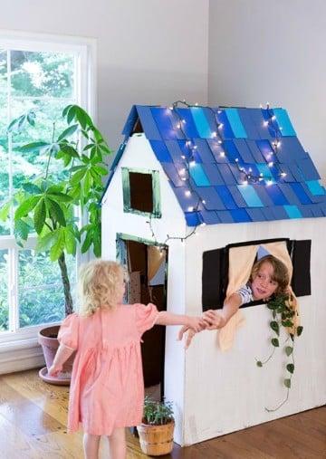 como hacer una casa de carton facil para niños