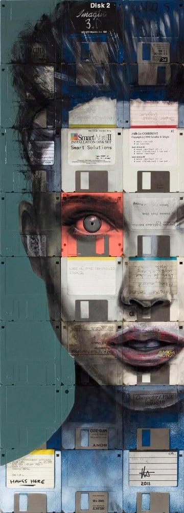 cuadros reciclados originales con diskettes