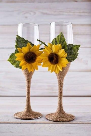 decoracion de copas para boda originales con adornos