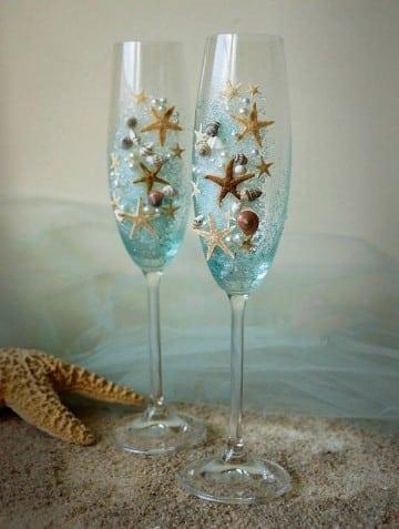 decoracion de copas para boda originales para playa