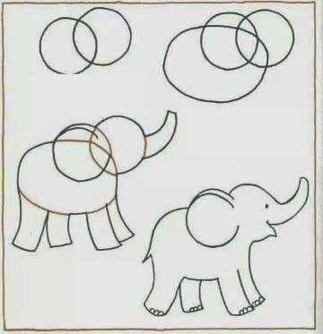 dibujos infantiles faciles de hacer como un elefante