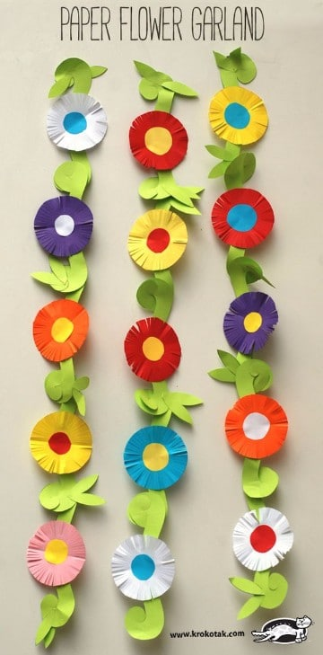guirnaldas de flores de papel faciles